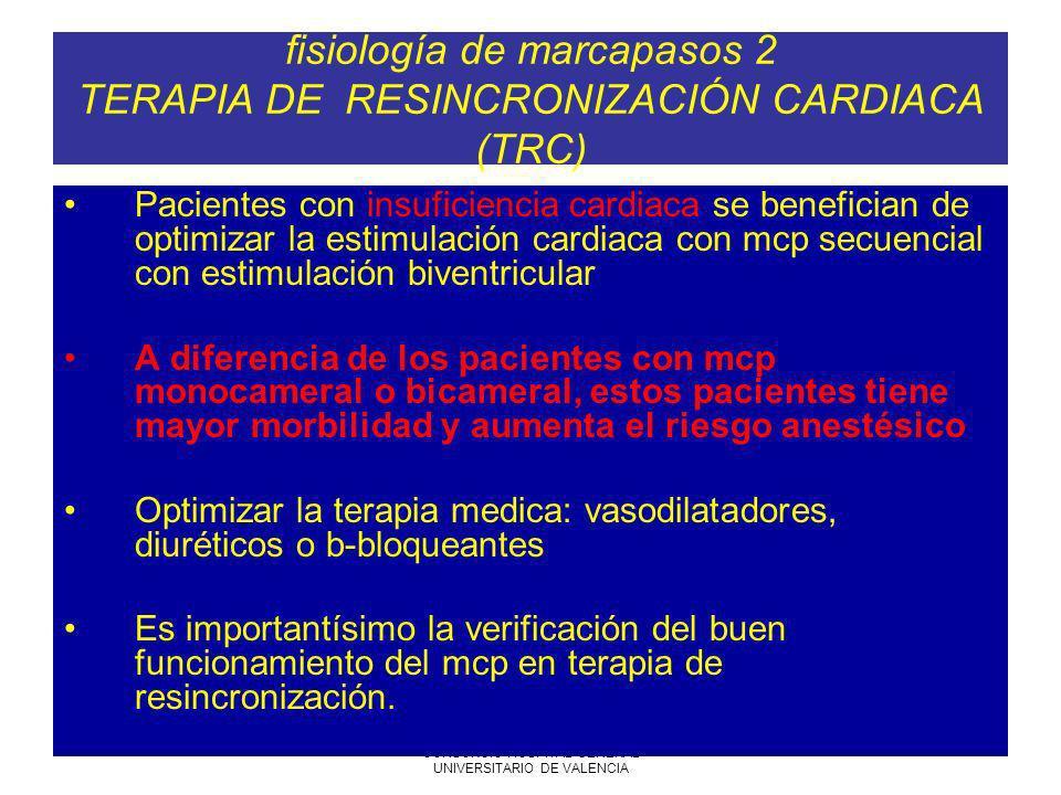 7-06-2005 SARTD CONSORCIO HOSPITAL GENERAL UNIVERSITARIO DE VALENCIA fisiología de marcapasos 2 TERAPIA DE RESINCRONIZACIÓN CARDIACA (TRC) Pacientes c
