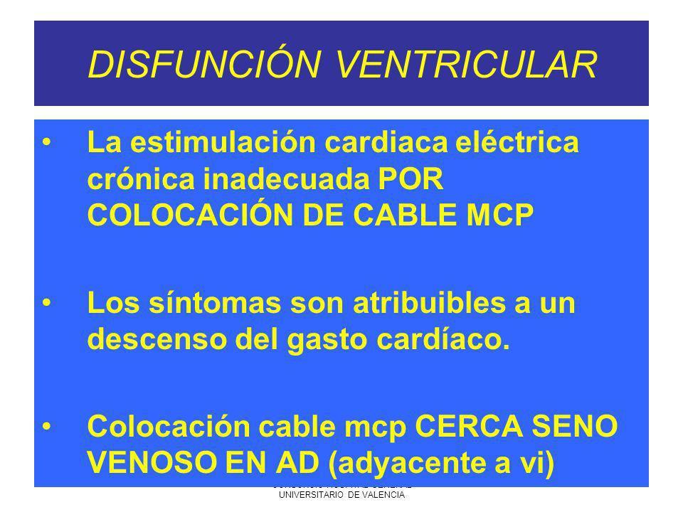 7-06-2005 SARTD CONSORCIO HOSPITAL GENERAL UNIVERSITARIO DE VALENCIA DISFUNCIÓN VENTRICULAR La estimulación cardiaca eléctrica crónica inadecuada POR