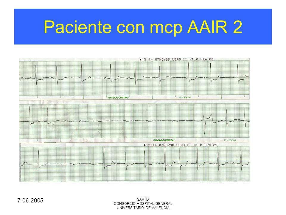 7-06-2005 SARTD CONSORCIO HOSPITAL GENERAL UNIVERSITARIO DE VALENCIA Paciente con mcp AAIR 2
