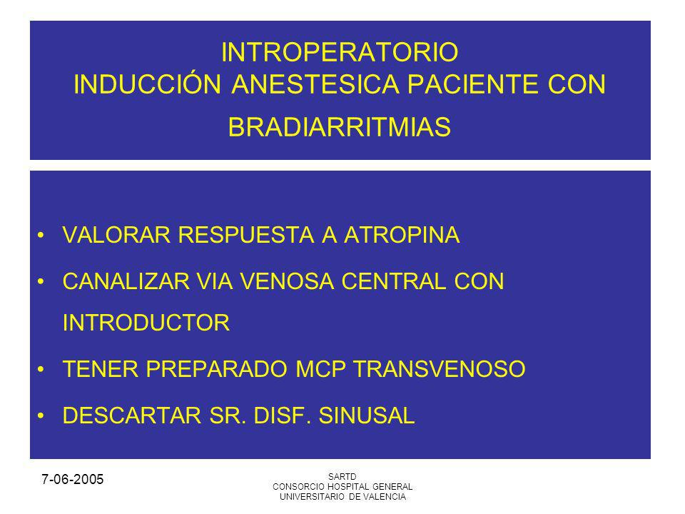 7-06-2005 SARTD CONSORCIO HOSPITAL GENERAL UNIVERSITARIO DE VALENCIA INTROPERATORIO INDUCCIÓN ANESTESICA PACIENTE CON BRADIARRITMIAS VALORAR RESPUESTA A ATROPINA CANALIZAR VIA VENOSA CENTRAL CON INTRODUCTOR TENER PREPARADO MCP TRANSVENOSO DESCARTAR SR.
