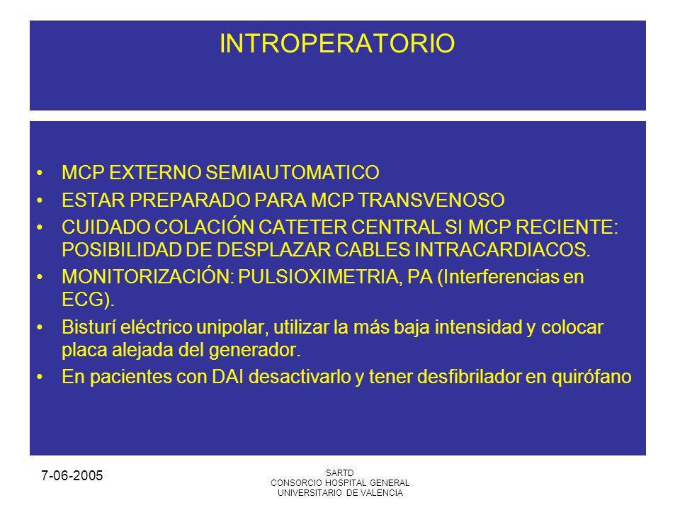 7-06-2005 SARTD CONSORCIO HOSPITAL GENERAL UNIVERSITARIO DE VALENCIA INTROPERATORIO MCP EXTERNO SEMIAUTOMATICO ESTAR PREPARADO PARA MCP TRANSVENOSO CUIDADO COLACIÓN CATETER CENTRAL SI MCP RECIENTE: POSIBILIDAD DE DESPLAZAR CABLES INTRACARDIACOS.