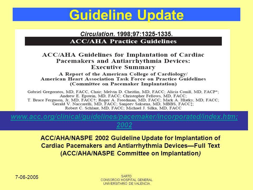 7-06-2005 SARTD CONSORCIO HOSPITAL GENERAL UNIVERSITARIO DE VALENCIA Guideline Update Circulation. 1998;97:1325-1335. ACC/AHA/NASPE 2002 Guideline Upd
