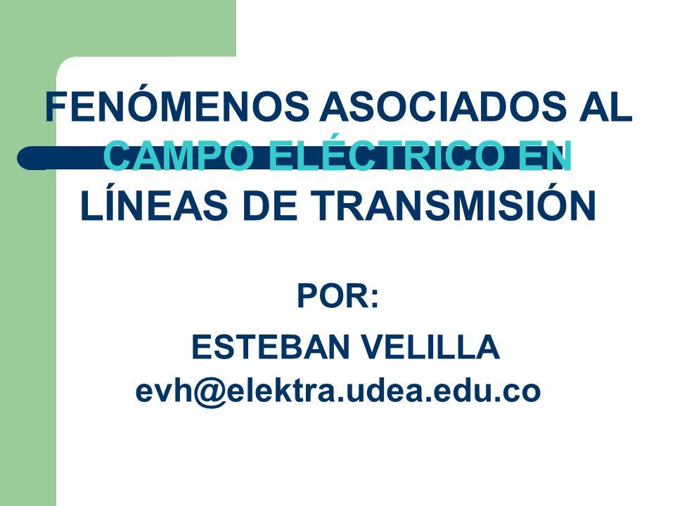 FENÓMENOS ASOCIADOS AL CAMPO ELÉCTRICO EN LÍNEAS DE TRANSMISIÓN POR: ESTEBAN VELILLA evh@elektra.udea.edu.co
