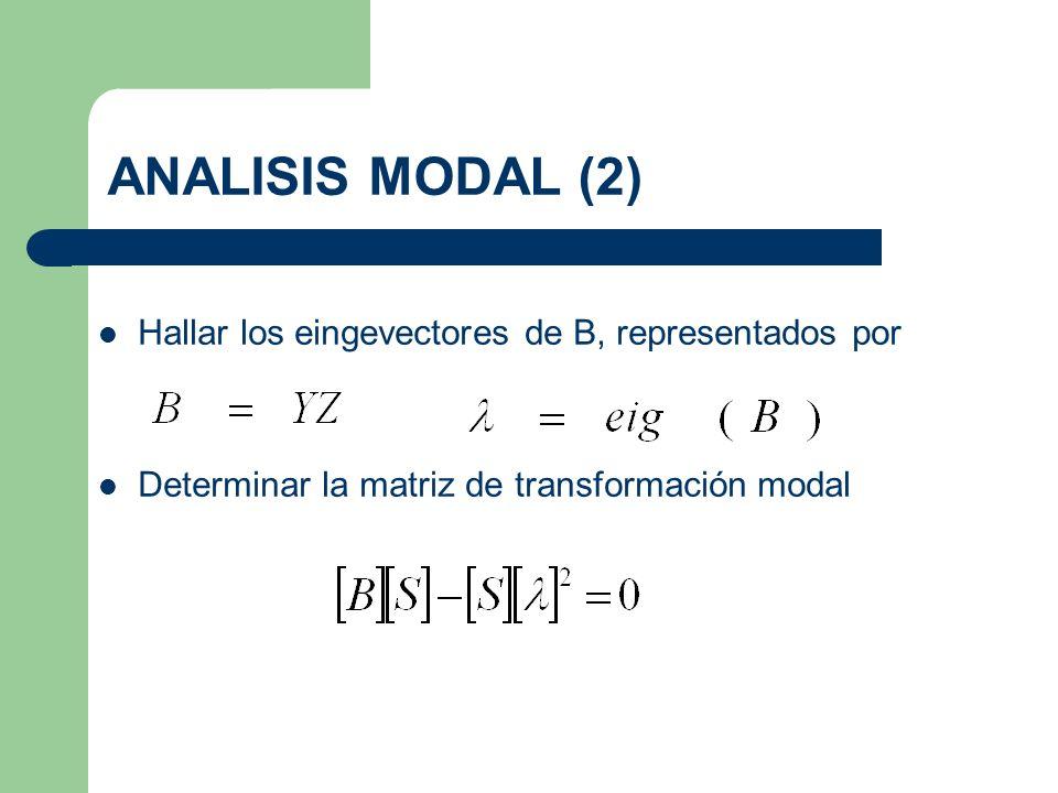 ANALISIS MODAL (2) Hallar los eingevectores de B, representados por Determinar la matriz de transformación modal
