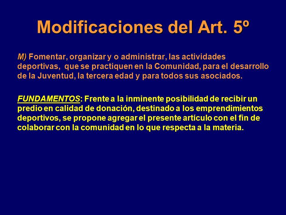 Modificaciones del Art. 5º M) M) Fomentar, organizar y o administrar, las actividades deportivas, que se practiquen en la Comunidad, para el desarroll