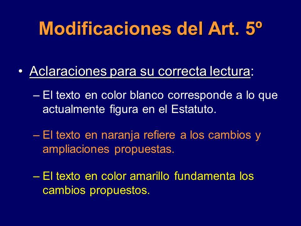 Modificaciones del Art. 5º Aclaraciones para su correcta lecturaAclaraciones para su correcta lectura: –El texto en color blanco corresponde a lo que