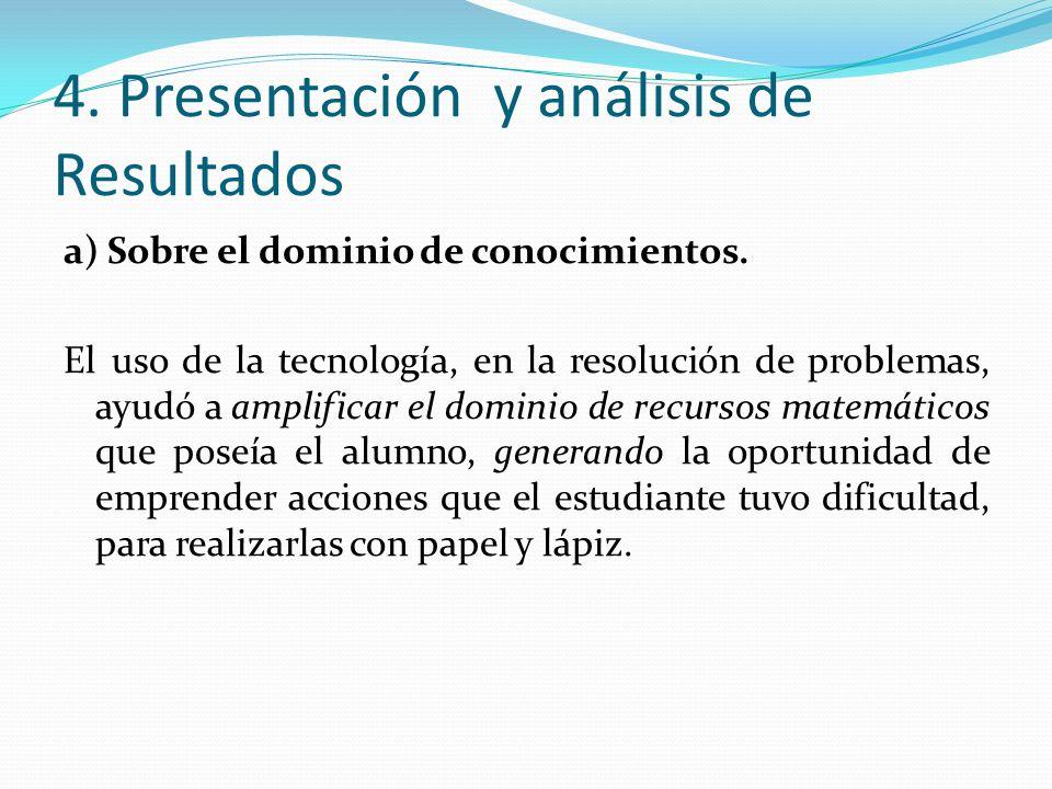 4. Presentación y análisis de Resultados a) Sobre el dominio de conocimientos. El uso de la tecnología, en la resolución de problemas, ayudó a amplifi