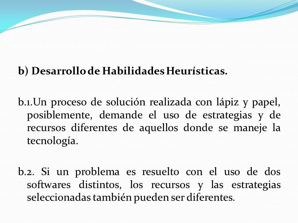 b) Desarrollo de Habilidades Heurísticas. b.1.Un proceso de solución realizada con lápiz y papel, posiblemente, demande el uso de estrategias y de rec