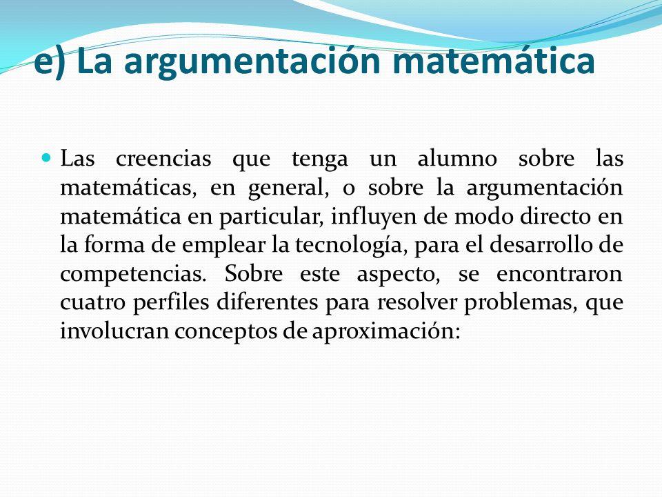 e) La argumentación matemática Las creencias que tenga un alumno sobre las matemáticas, en general, o sobre la argumentación matemática en particular,