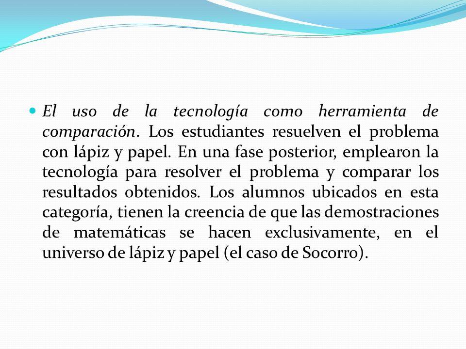El uso de la tecnología como herramienta de comparación. Los estudiantes resuelven el problema con lápiz y papel. En una fase posterior, emplearon la