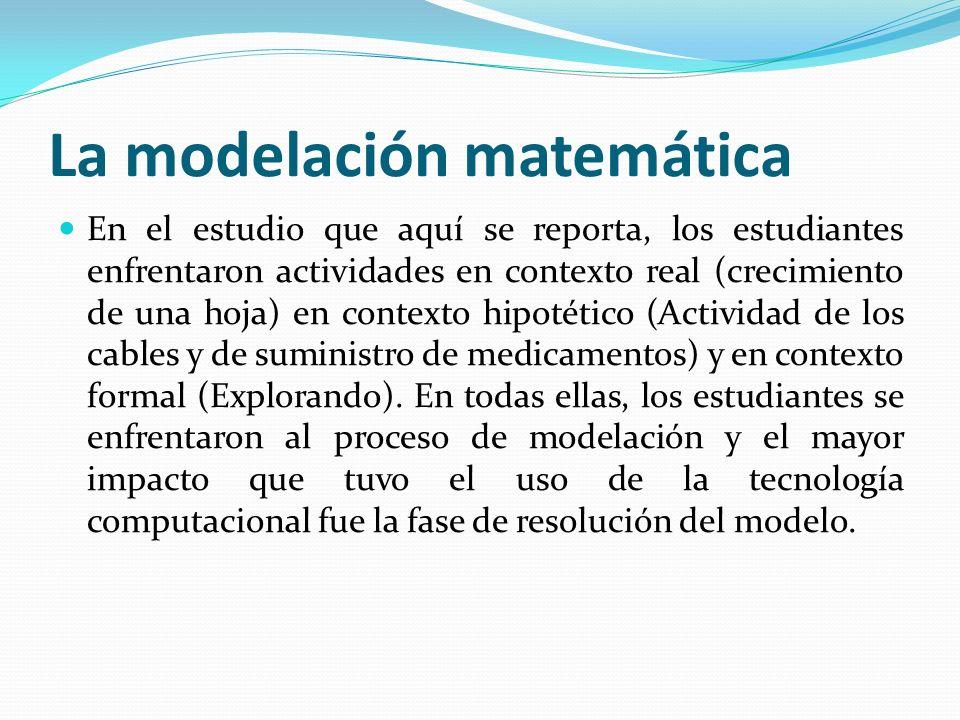 La modelación matemática En el estudio que aquí se reporta, los estudiantes enfrentaron actividades en contexto real (crecimiento de una hoja) en cont