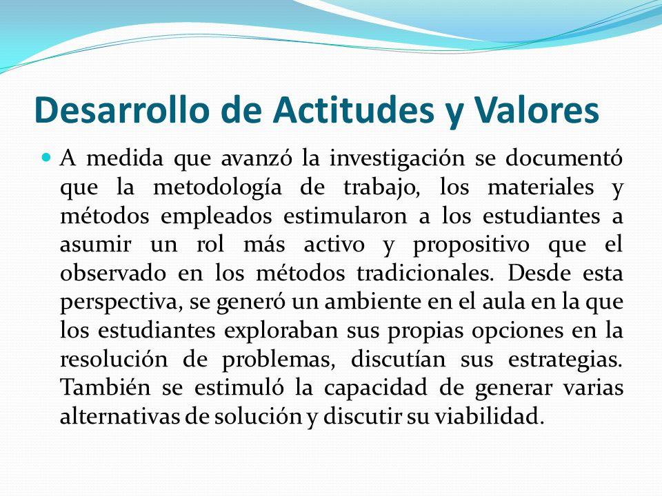 Desarrollo de Actitudes y Valores A medida que avanzó la investigación se documentó que la metodología de trabajo, los materiales y métodos empleados