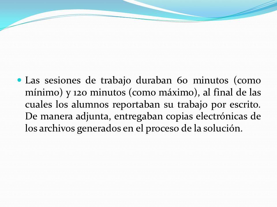 Las sesiones de trabajo duraban 60 minutos (como mínimo) y 120 minutos (como máximo), al final de las cuales los alumnos reportaban su trabajo por esc