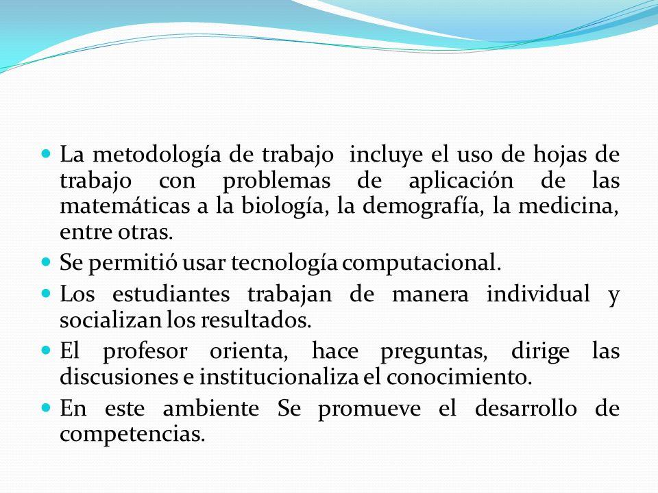 La metodología de trabajo incluye el uso de hojas de trabajo con problemas de aplicación de las matemáticas a la biología, la demografía, la medicina,