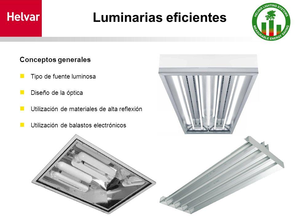 Luminarias eficientes Conceptos generales Tipo de fuente luminosa Diseño de la óptica Utilización de materiales de alta reflexión Utilización de balastos electrónicos