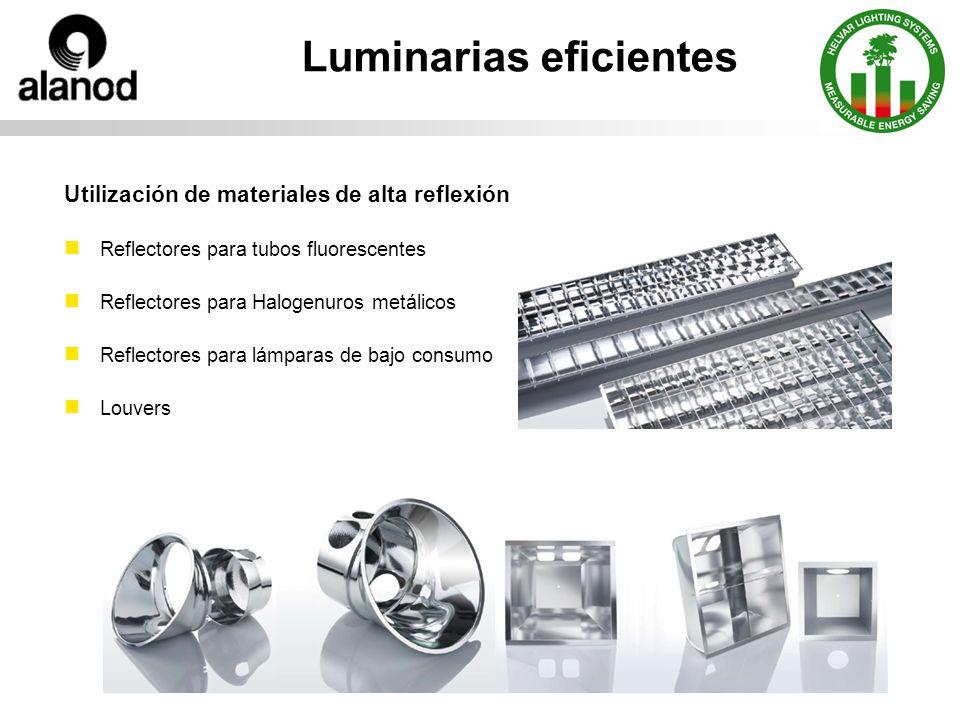 Luminarias eficientes Utilización de materiales de alta reflexión Reflectores para tubos fluorescentes Reflectores para Halogenuros metálicos Reflectores para lámparas de bajo consumo Louvers