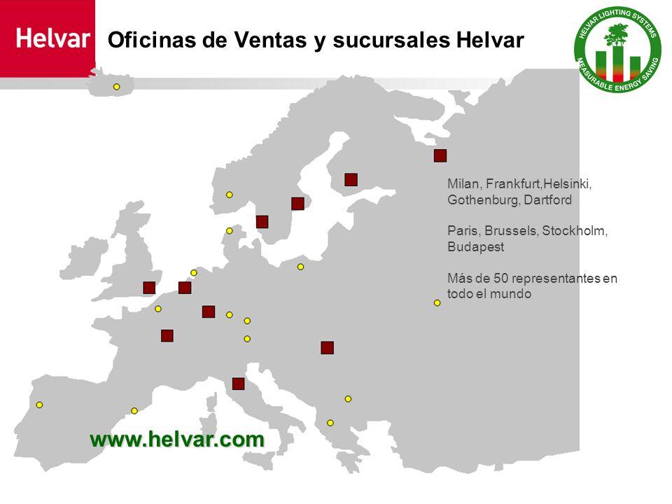 Oficinas de Ventas y sucursales Helvar www.hlvar.com Milan, Frankfurt,Helsinki, Gothenburg, Dartford Paris, Brussels, Stockholm, Budapest Más de 50 re