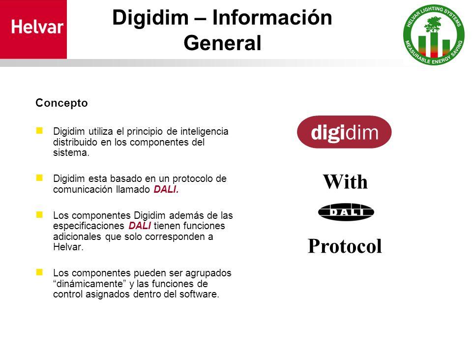 Digidim – Información General Concepto Digidim utiliza el principio de inteligencia distribuido en los componentes del sistema.