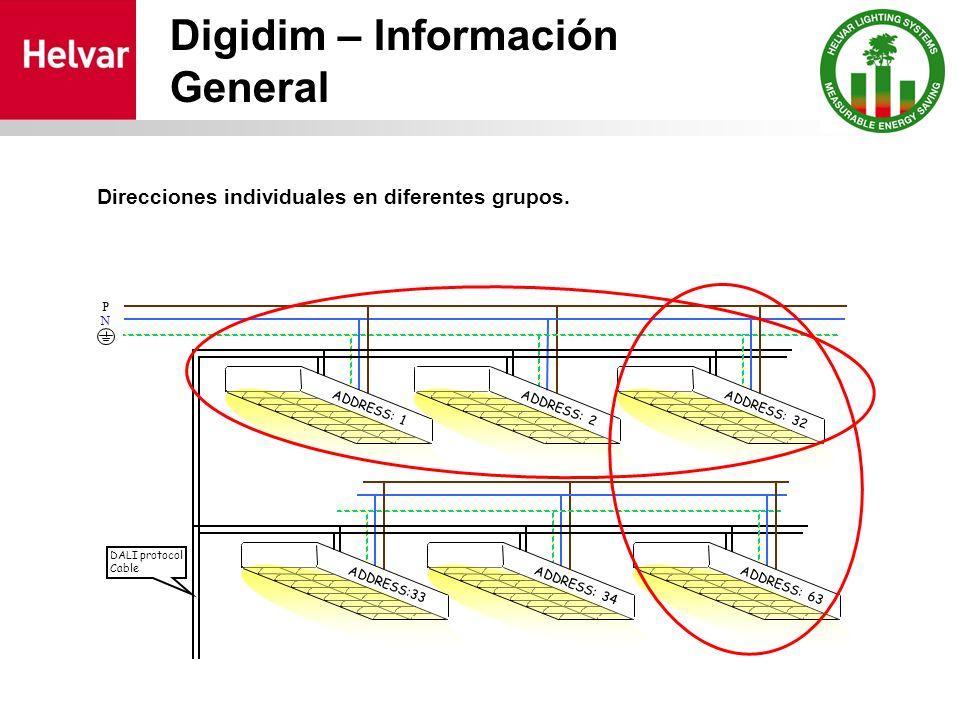 Digidim – Información General Direcciones individuales en diferentes grupos. ADDRESS: 2 N P DALI protocol Cable ADDRESS: 1ADDRESS: 32 ADDRESS: 34 ADDR