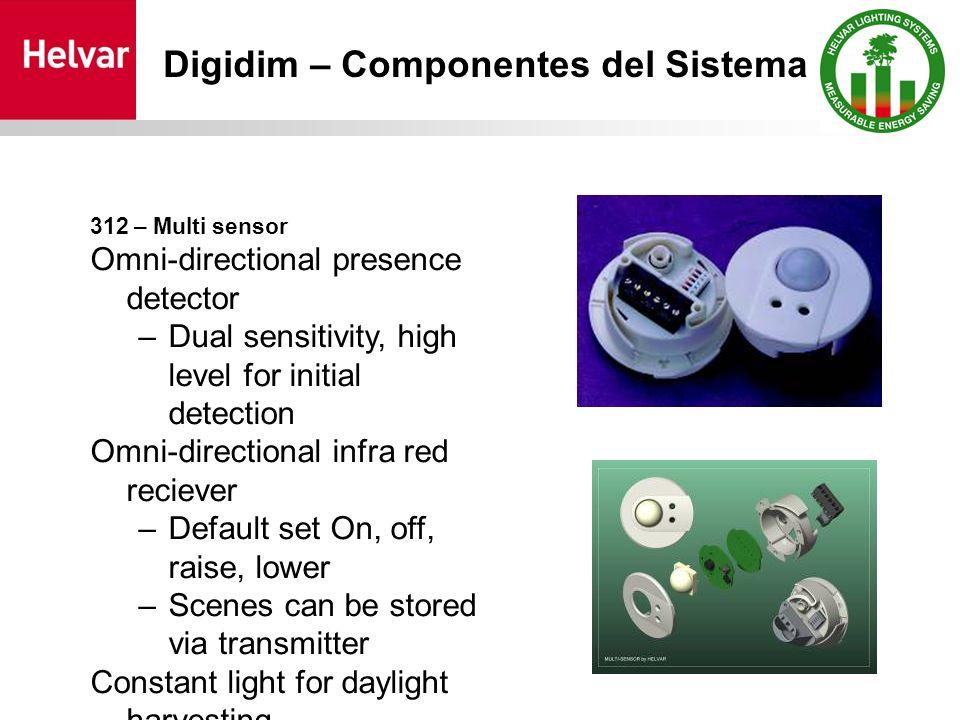 312 – Multi sensor Omni-directional presence detector –Dual sensitivity, high level for initial detection Omni-directional infra red reciever –Default