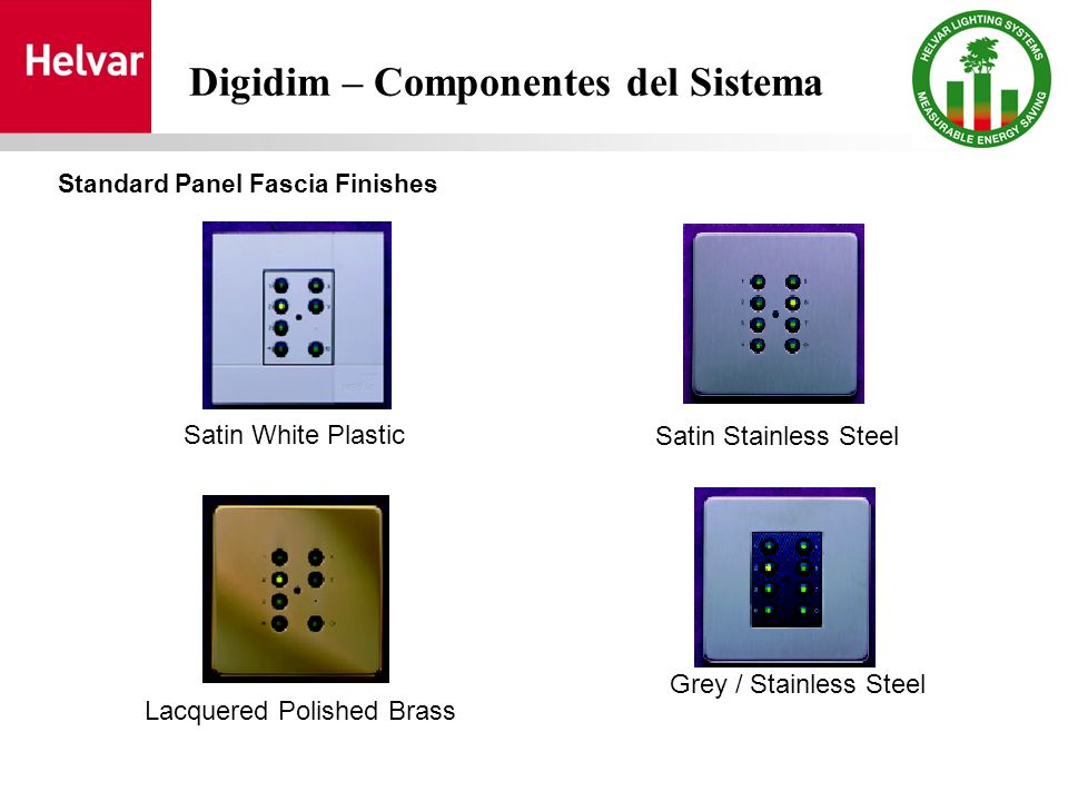 Satin White Plastic Satin Stainless Steel Lacquered Polished Brass Grey / Stainless Steel Digidim – Componentes del Sistema Standard Panel Fascia Finishes