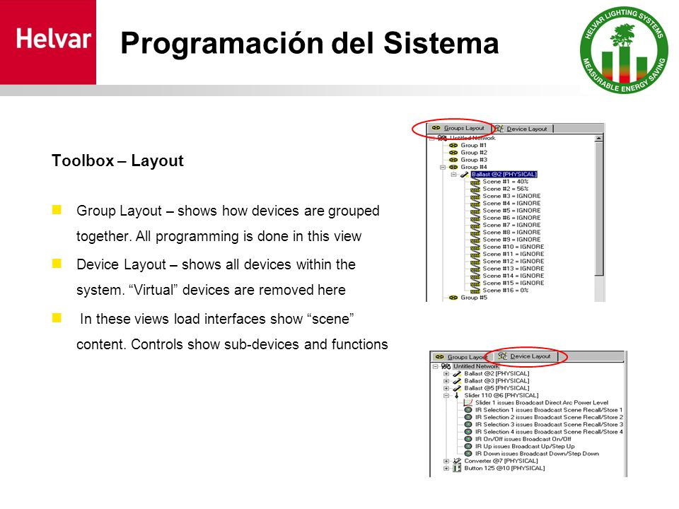 Programación del Sistema Toolbox – Layout Group Layout – shows how devices are grouped together.