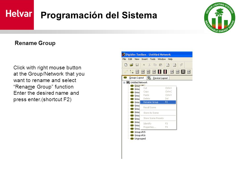 Click with right mouse button at the Group/Network that you want to rename and select Rename Group function Enter the desired name and press enter.(sh