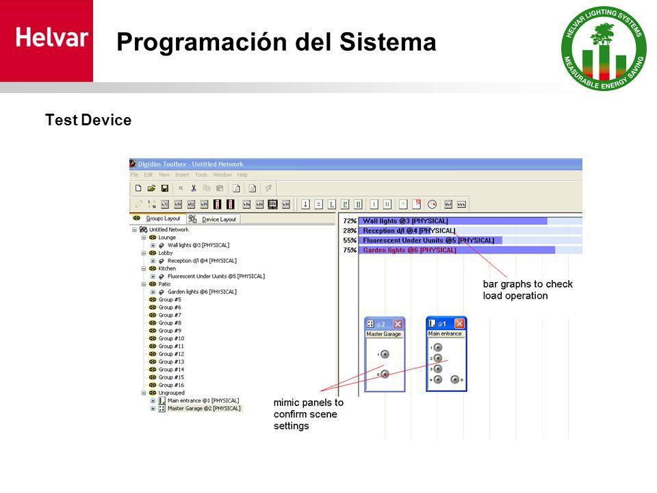 Test Device Programación del Sistema