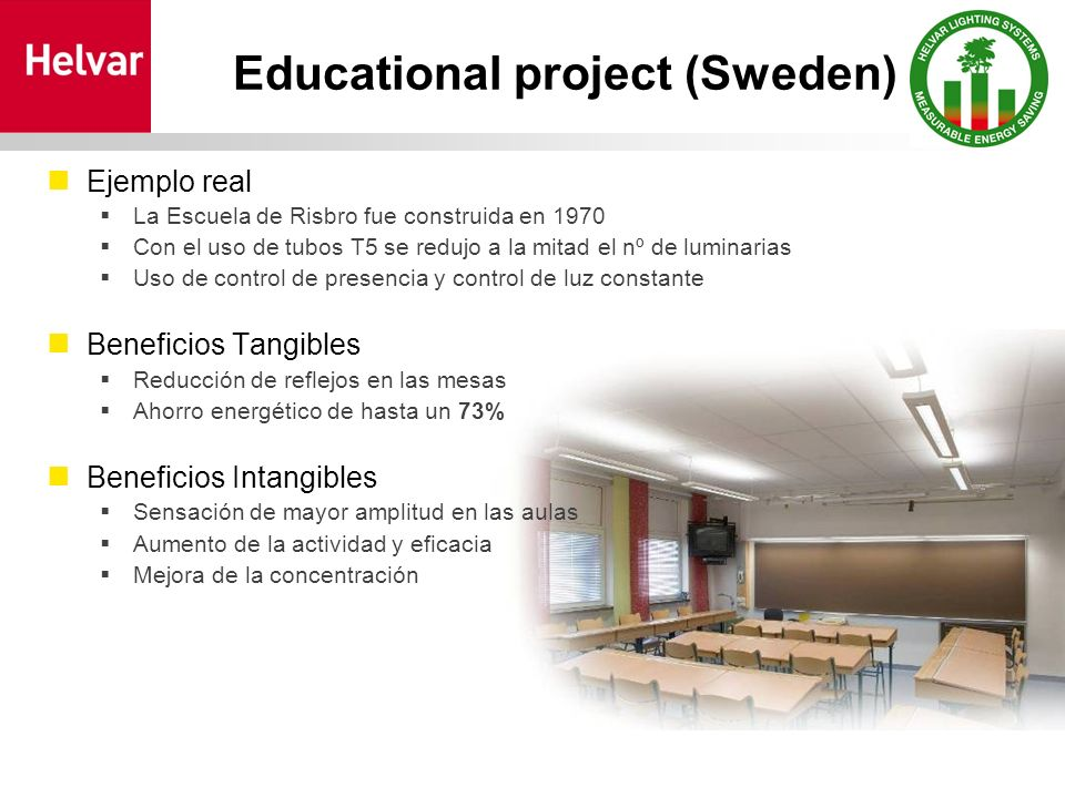 Educational project (Sweden) Ejemplo real La Escuela de Risbro fue construida en 1970 Con el uso de tubos T5 se redujo a la mitad el nº de luminarias Uso de control de presencia y control de luz constante Beneficios Tangibles Reducción de reflejos en las mesas Ahorro energético de hasta un 73% Beneficios Intangibles Sensación de mayor amplitud en las aulas Aumento de la actividad y eficacia Mejora de la concentración