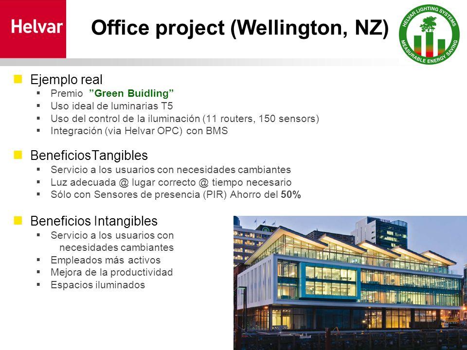 Office project (Wellington, NZ) Ejemplo real Premio Green Buidling Uso ideal de luminarias T5 Uso del control de la iluminación (11 routers, 150 senso