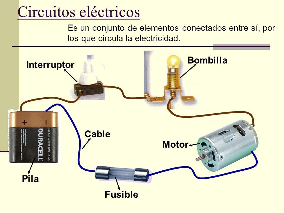 Circuitos eléctricos Pila Fusible Motor Bombilla Interruptor Cable Es un conjunto de elementos conectados entre sí, por los que circula la electricida