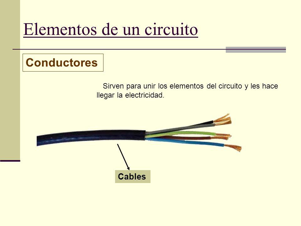 Elementos de un circuito Conductores Sirven para unir los elementos del circuito y les hace llegar la electricidad. Cables