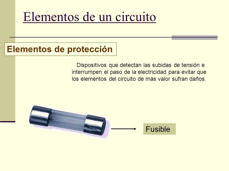 Elementos de un circuito Elementos de protección Dispositivos que detectan las subidas de tensión e interrumpen el paso de la electricidad para evitar