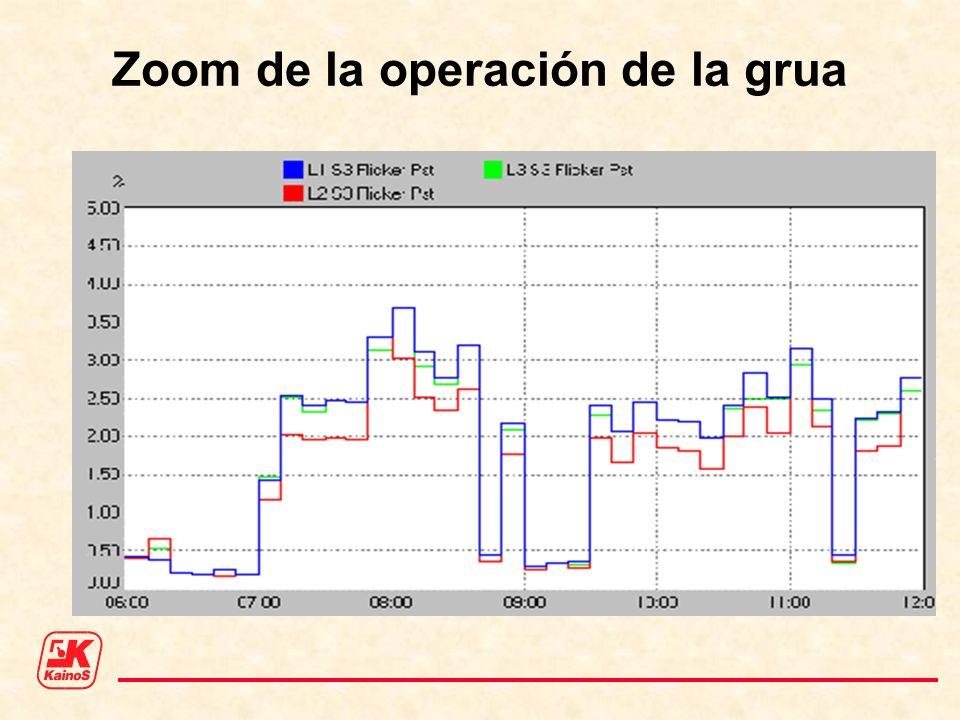 Zoom de la operación de la grua
