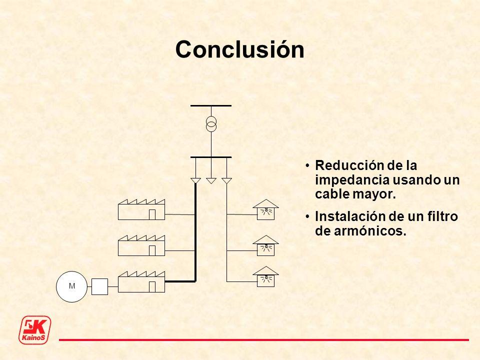 Conclusión Reducción de la impedancia usando un cable mayor. Instalación de un filtro de armónicos. M