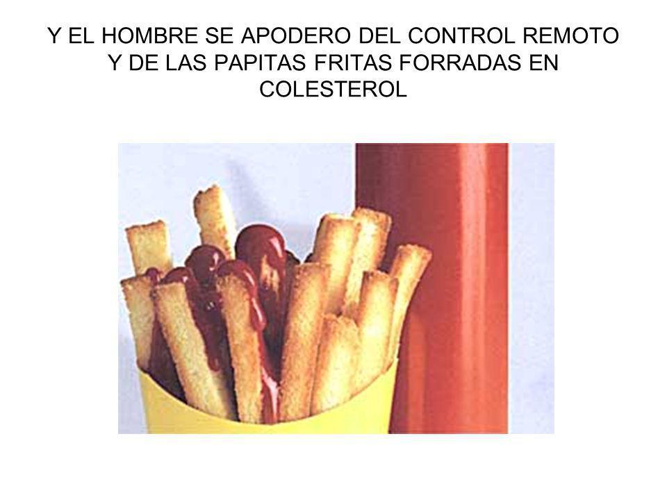 Y EL HOMBRE SE APODERO DEL CONTROL REMOTO Y DE LAS PAPITAS FRITAS FORRADAS EN COLESTEROL