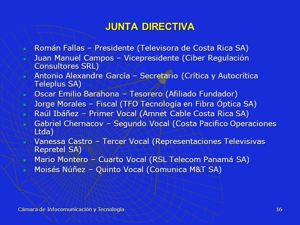 Cámara de Infocomunicación y Tecnología16 JUNTA DIRECTIVA Román Fallas – Presidente (Televisora de Costa Rica SA) Román Fallas – Presidente (Televisor