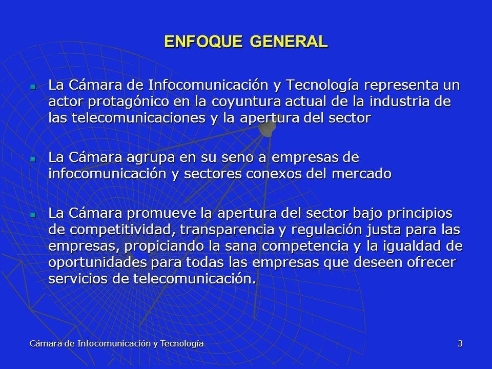 Cámara de Infocomunicación y Tecnología4 VISION Llegar a ser una institución de vanguardia e impacto empresarial que agrupe a la mayoría de las empresas, tanto del sector privado como público, de las diferentes ramas del sector de las telecomunicaciones con el fin de velar por sus intereses y fomentar los más altos principios de competitividad, transparencia, apertura, convergencia y crecimiento del mercado de las telecomunicaciones.