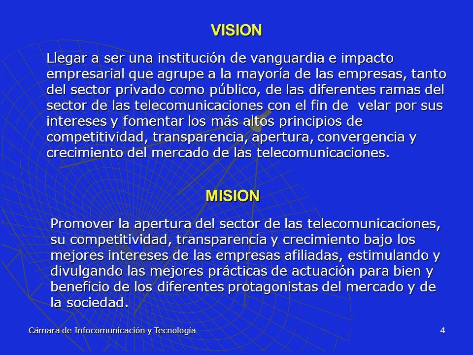 Cámara de Infocomunicación y Tecnología5 OBJETIVOS Jugar un papel protagónico en la coyuntura actual de la industria de las telecomunicaciones y el sector de alta tecnología Jugar un papel protagónico en la coyuntura actual de la industria de las telecomunicaciones y el sector de alta tecnología Promover la apertura del sector bajo principios de competitividad, transparencia y regulación justa para las empresas, propiciando la sana competencia y la igualdad de oportunidades para todas las empresas que deseen ofrecer servicios de telecomunicación Promover la apertura del sector bajo principios de competitividad, transparencia y regulación justa para las empresas, propiciando la sana competencia y la igualdad de oportunidades para todas las empresas que deseen ofrecer servicios de telecomunicación Participar activamente en la discusión y aprobación de normativa y reglamentación del sector de las telecomunicaciones Participar activamente en la discusión y aprobación de normativa y reglamentación del sector de las telecomunicaciones Actuar como árbitro a solicitud de sus afiliados Actuar como árbitro a solicitud de sus afiliados