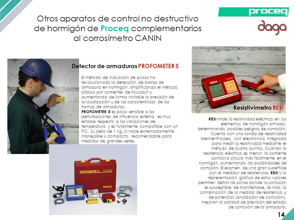 Otros aparatos de control no destructivo de hormigón de Proceq complementarios al corrosímetro CANIN El método de inducción de pulsos ha revolucionado