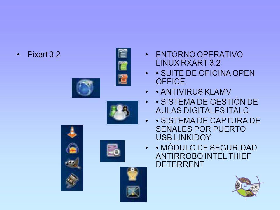 Pixart 3.2ENTORNO OPERATIVO LINUX RXART 3.2 SUITE DE OFICINA OPEN OFFICE ANTIVIRUS KLAMV SISTEMA DE GESTIÓN DE AULAS DIGITALES ITALC SISTEMA DE CAPTURA DE SEÑALES POR PUERTO USB LINKIDOY MÓDULO DE SEGURIDAD ANTIRROBO INTEL THIEF DETERRENT