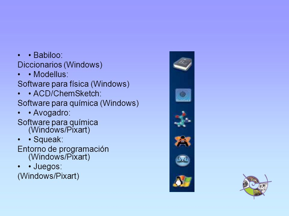 Babiloo: Diccionarios (Windows) Modellus: Software para física (Windows) ACD/ChemSketch: Software para química (Windows) Avogadro: Software para química (Windows/Pixart) Squeak: Entorno de programación (Windows/Pixart) Juegos: (Windows/Pixart)