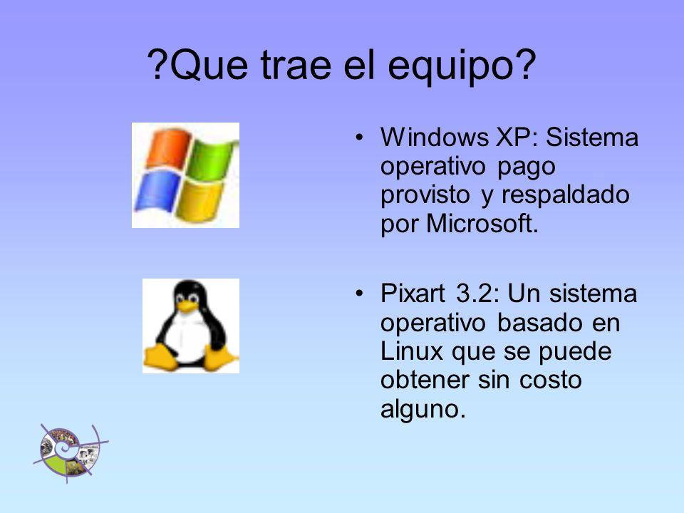 ?Que trae el equipo.Windows XP: Sistema operativo pago provisto y respaldado por Microsoft.