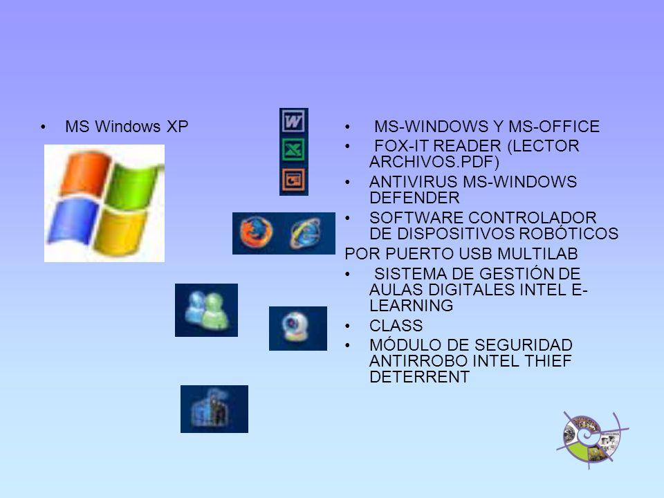 MS Windows XP MS-WINDOWS Y MS-OFFICE FOX-IT READER (LECTOR ARCHIVOS.PDF) ANTIVIRUS MS-WINDOWS DEFENDER SOFTWARE CONTROLADOR DE DISPOSITIVOS ROBÓTICOS POR PUERTO USB MULTILAB SISTEMA DE GESTIÓN DE AULAS DIGITALES INTEL E- LEARNING CLASS MÓDULO DE SEGURIDAD ANTIRROBO INTEL THIEF DETERRENT