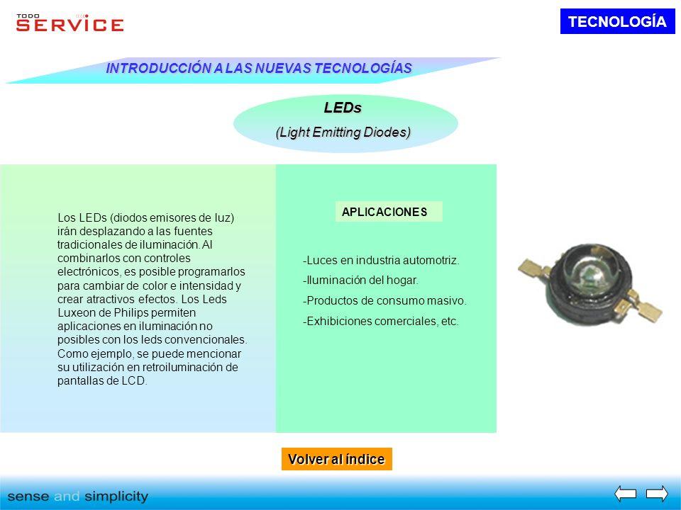 Volver al índice Volver al índice TECNOLOGÍA INTRODUCCIÓN A LAS NUEVAS TECNOLOGÍAS LEDs (Light Emitting Diodes) Los LEDs (diodos emisores de luz) irán