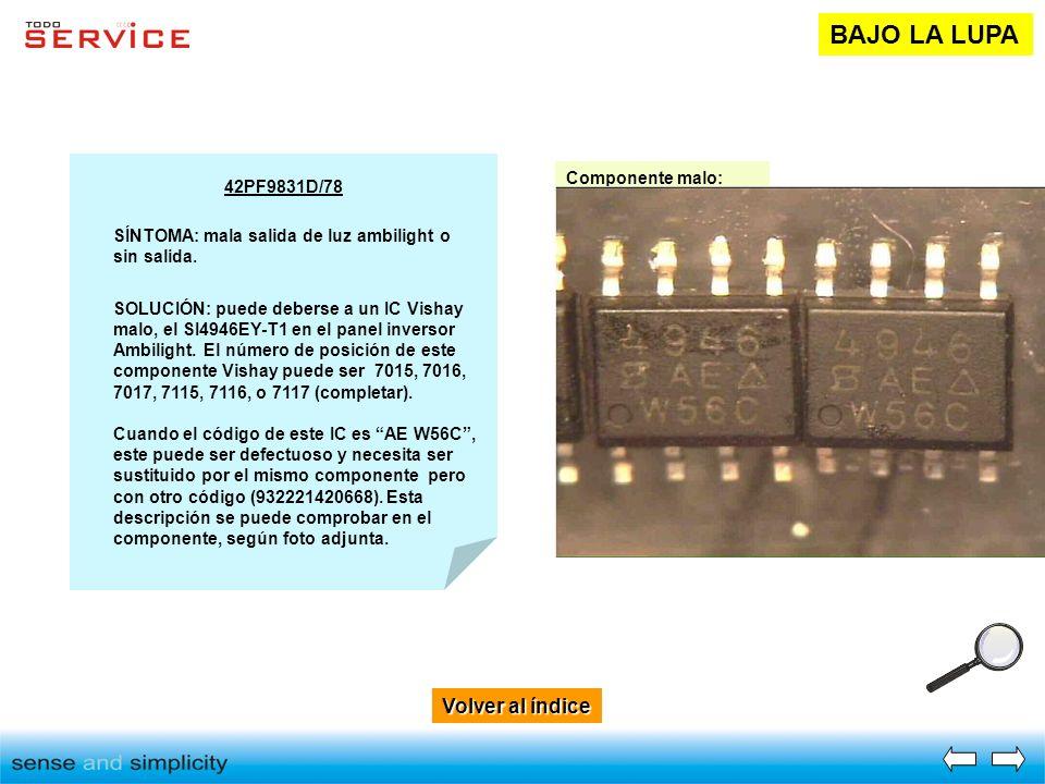 Volver al índice Volver al índice BAJO LA LUPA 42PF9831D/78 SÍNTOMA: mala salida de luz ambilight o sin salida. SOLUCIÓN: puede deberse a un IC Vishay