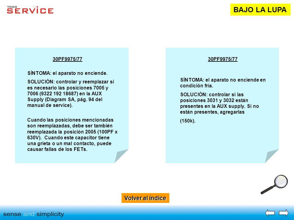 Volver al índice Volver al índice BAJO LA LUPA 30PF9975/77 SÍNTOMA: el aparato no enciende. SOLUCIÓN: controlar y reemplazar si es necesario las posic
