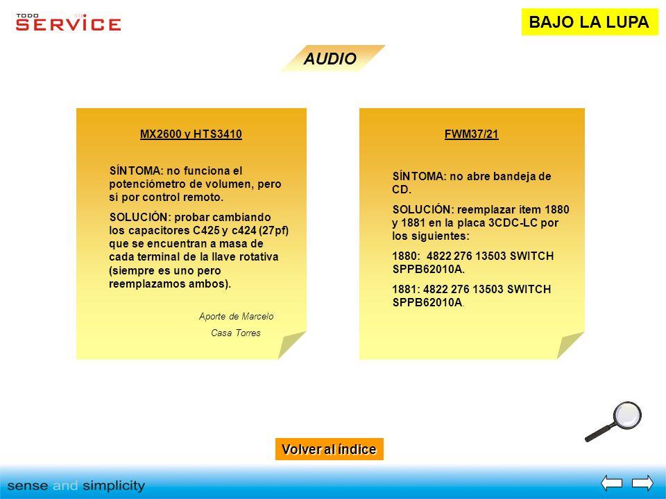 Volver al índice Volver al índice BAJO LA LUPA AUDIO MX2600 y HTS3410 SÍNTOMA: no funciona el potenciómetro de volumen, pero sí por control remoto. SO