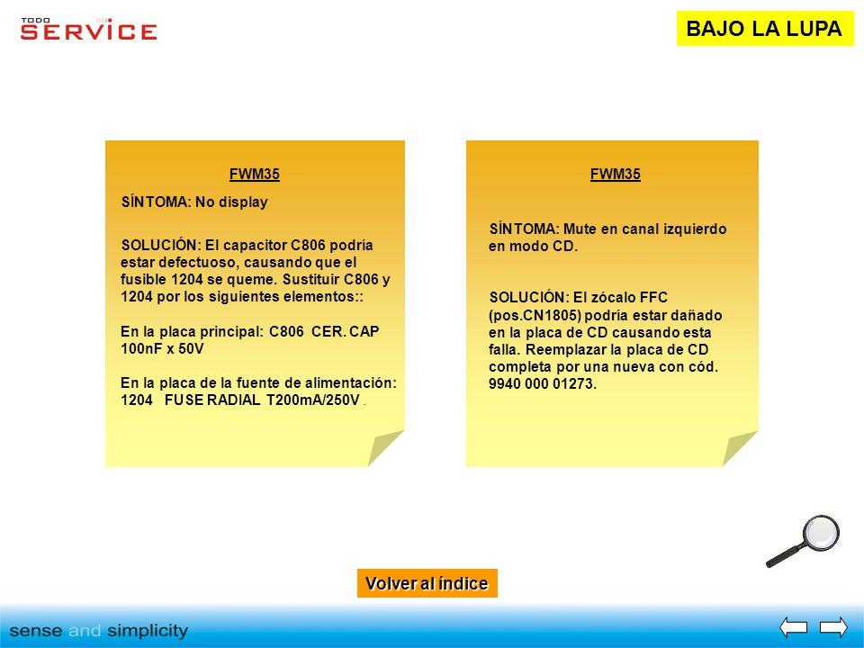 Volver al índice Volver al índice BAJO LA LUPA FWM35 SÍNTOMA: No display SOLUCIÓN: El capacitor C806 podría estar defectuoso, causando que el fusible