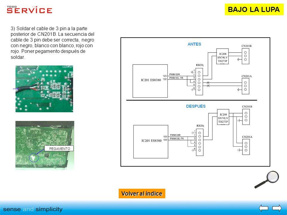 Volver al índice Volver al índice BAJO LA LUPA 3) Soldar el cable de 3 pin a la parte posterior de CN201B. La secuencia del cable de 3 pin debe ser co